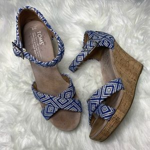 TOMS Ink Woven Diamond Strappy Wedge Sandals